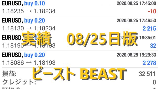 ビースト BEAST FX自動売買ツール 実績公開 08/25日版