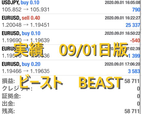 ビースト BEAST FX自動売買 実績公開 09/01日版 日利5%!!月利100%!?