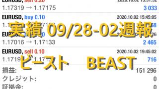 最強のFX自動売買 稼げる副業 ビースト BEAST FX 実績 09/28-10/02日版 週利15.1%!月利70%以上!
