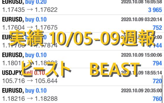 最強のFX自動売買 稼げる副業 ビースト BEAST FX 実績 10/05-10/09日版 今週の週利は?