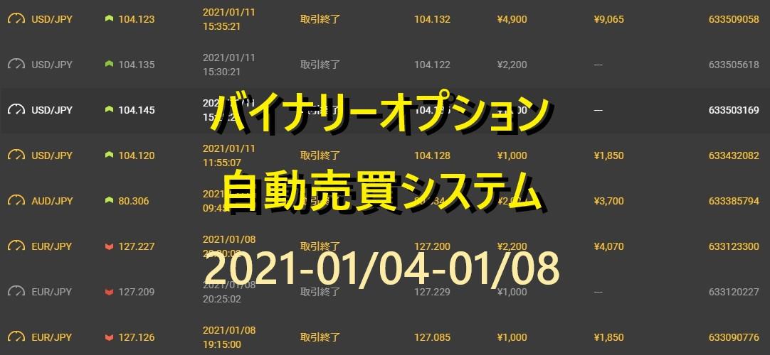 最強 バイナリーオプション 完全自動売買 全勝 実績 2021/01/04-01/08 今週の週利は?