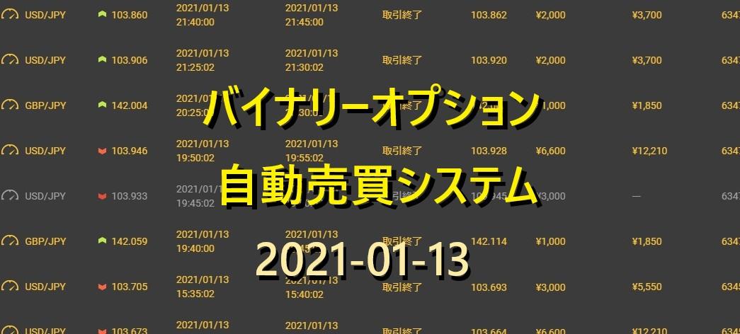 最強 バイナリーオプション 完全自動売買 全勝 実績 2021/01/13 今日の日利は?