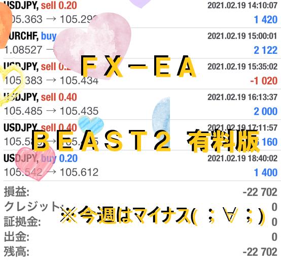 完全放置とはこのこと。FX自動売買システム Beast2 ビースト2  2021/02/15-02/19