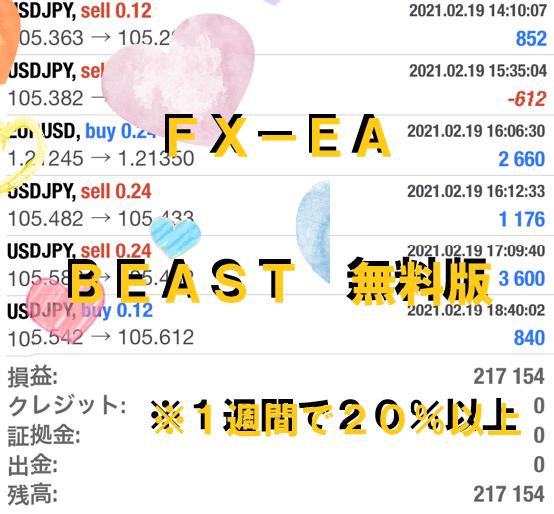 完全放置とはこのこと。FX自動売買システム Beast ビースト  2021/02/15-02/19