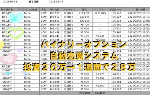 バイナリーオプション 完全自動売買 全勝 実績 2021/02/01-02/12